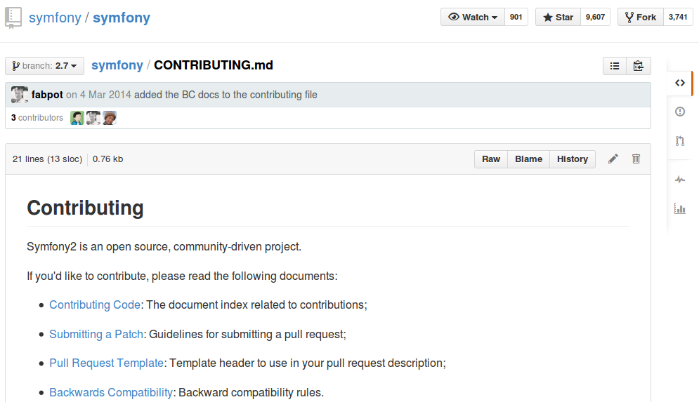 Symfony CONTRIBUTING.md file